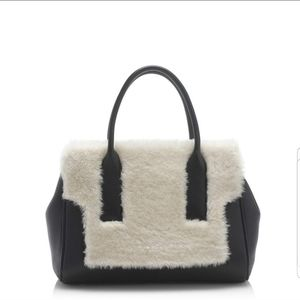 JCrew black leather and shearling handbag